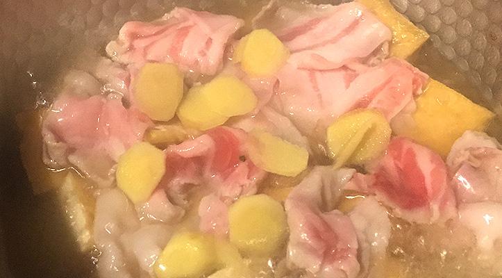 工程3 豚肉と厚揚げの生姜煮